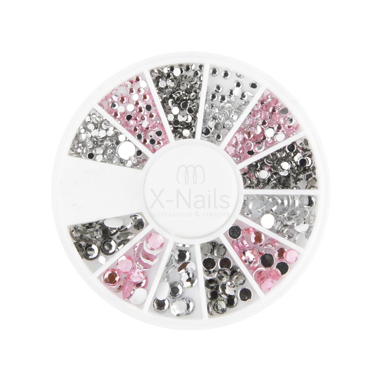 2c3df69ce X-NAILS Zdobící kamínky na nehty - KARUSEL SE ZIRKONY STŘÍBRNÁ & RŮŽOVÁ
