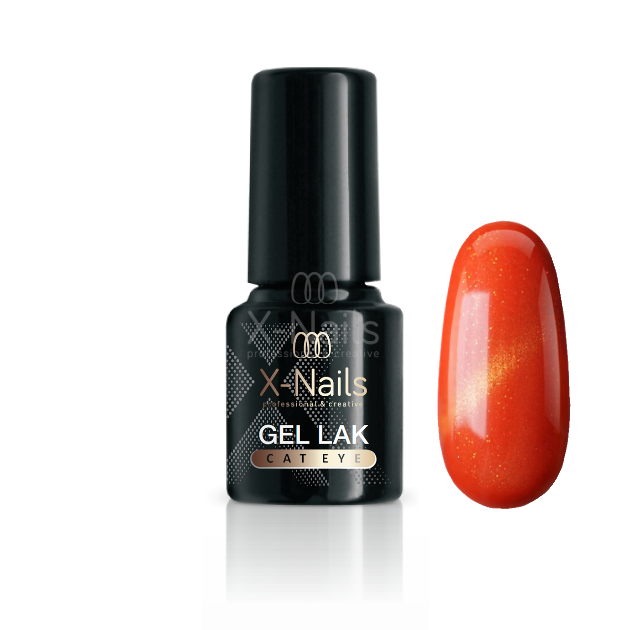 X-NAILS gel lak CAT EYE 6 ml - AURORA (tmavě oranžový)