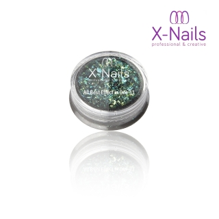X-NAILS holografický leštící pigment na nehty – ALL BEST EFFECT IN ONE GREEN