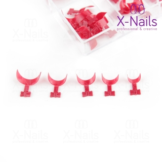 X-NAILS nehtové tipy v boxu 100 ks - QUICK FRENCH WRAP RED