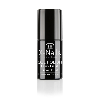 X-NAILS zakončovací vrchní gel lak 5 ml – top coat QUICK FINISH STAR DUST SILVER