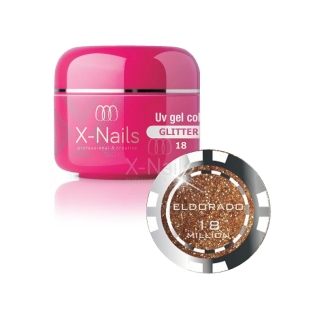 X-NAILS barevný UV gel s glitry Glitter Line, 5 ml - ELDORADO