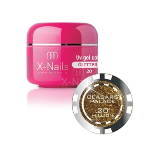 X-NAILS barevný UV gel s glitry Glitter Line, 5 ml - CEASAR´S PALACE